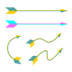Set of vector arrows in flat style