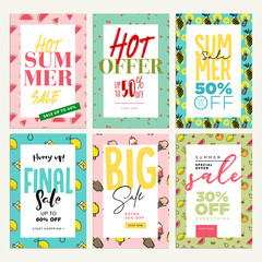 Set of mobile ads and posters. Summer sale banners. Vector illustrations concept for online shopping, e-commerce, internet advertising, social media ads and banners, marketing material.