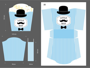 Popcorn paper box. Wrapper for sweet table. Printable template for little man's birthday(baby shower boy) party. Blue stripes pattern. Print and cut. Fast folded. Mustache bash. Favor vector gift.