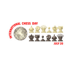 International Chess Day card. Chess pieces. Vector,