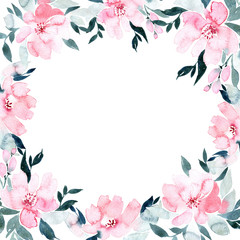 Flowers watercolor frame, isolated on white background.