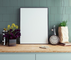 Mock up poster frame in kitchen interior background close-up, 3d render