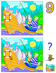 Logic puzzle game for children and adults. Need to find 9 differences. Developing skills for counting. Vector cartoon image.