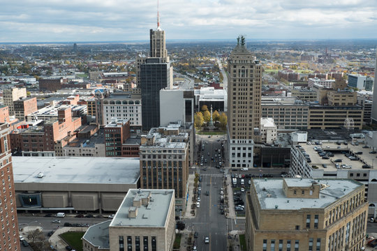 View of the city of Buffalo New York from a tall building. Overlooking Buffalo NY from above. View of urban Buffalo in upstate New York before a rainstorm. View of downtown Buffalo, NY.