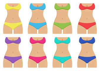 Set of sunburnt female silhouettes with colorful swimsuits. Vector illustration