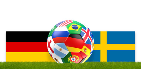 soccer ball russia flag design with flag of Germany and Sweden 3d rendering
