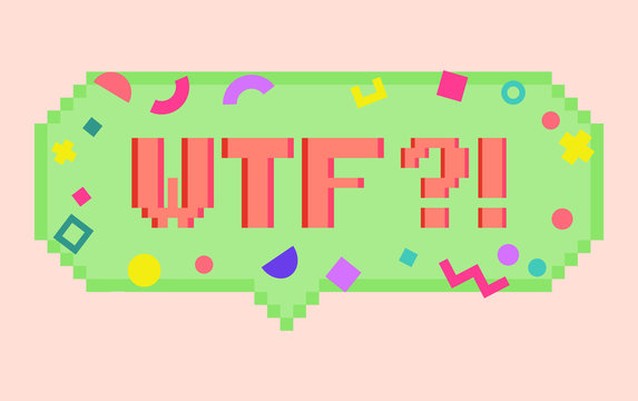 Vector pixel art 8bit wtf sticker