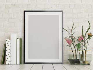 Mock up poster, empty frame with flowers and books decor, 3d render, 3d illustration