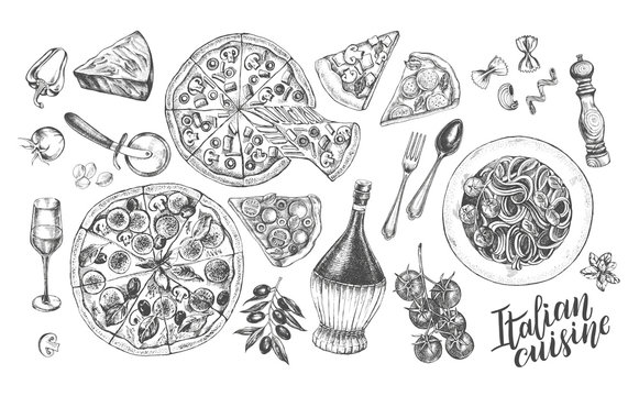 Pizza, chianti wine, mozzarella, spaghetti pasta, parmesan. Set of traditional dishes and products of Italian cuisine. Ink hand drawn Vector illustration. Food elements.
