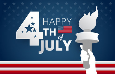 Happy 4th of July Independence Day USA blue background with liberty flames vector illustration
