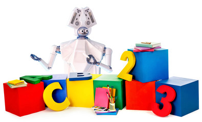Robot toy and kids plastic cubes and big number. White plastic ai robotic device and book for children on isolated. Artificial intelligence invites on online interactive education.