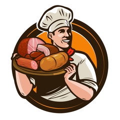 Cook holding a tray of meat products. Butcher shop logo. Vector illustration