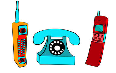 A set of three old yellow and red retro vintage blue buttons with vintage square first mobile phones with long antenna and sliders and a disk wired phone on a white background.