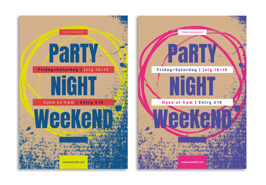 Party Flyer Layout with Grunge Style Elements