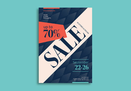 Sale Flyer Layout with Geometric Elements
