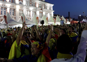 Colombian fans cheer at FIFA Fan Fest in downtown of Saransk