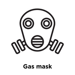 Gas mask icon vector sign and symbol isolated on white background, Gas mask logo concept, outline symbol, linear sign