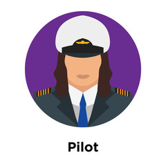 Pilot icon vector sign and symbol isolated on white background, Pilot logo concept