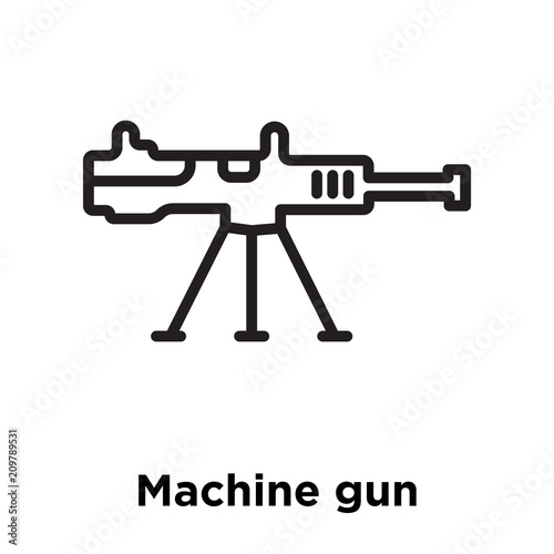 Machine Gun Icon Vector Sign And Symbol Isolated On White Background