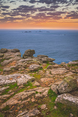 Lands End in Cornwall at dusk