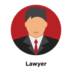 Lawyer icon vector sign and symbol isolated on white background, Lawyer logo concept