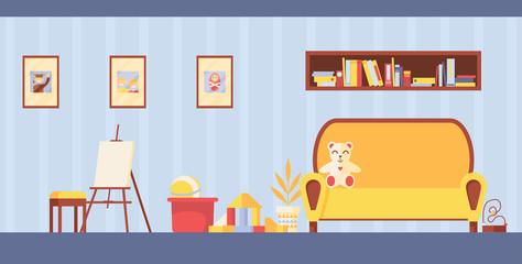 Vector kids room interior for study and painting. Horizontal playroom with easel, toys and sofa in light colors. Teddy bear on couch and frames for photo on wall.