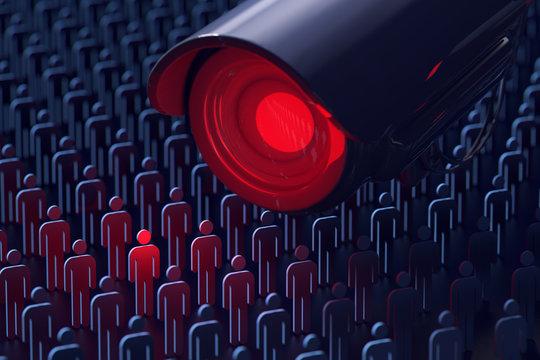 Giant surveillance camera spies a man. No secrets, no privacy concept. 3D rendering