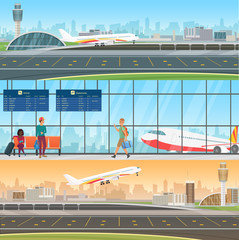 Airport detailed horizontal vector banners templates. Aircraft arrivals and departures. Waiting room in terminal with passengers people. Travel concept with taking off and landing airplane.