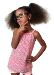 Cute african american small girl wearing glasses and thinking