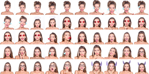 Collage of emotions of girl. Different emotions. Emoji set of pretty girl. Feeling and emotions. Emoji set. Set of human emotions. Emoji. Isolated on white background. Face expression.