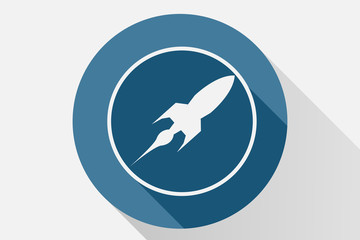 Icono azul de nave espacial. Fototapete