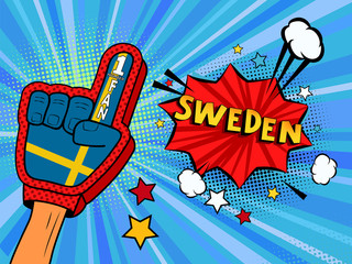 Male hand in the country flag glove of a sports fan raised up celebrating win and Sweden speech bubble with stars and clouds. Colorful illustration in retro comic style