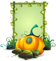 A Natural Wooden Frame and Pumpkin