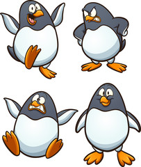 Cartoon penguin with different expressions. Vector clip art illustration with simple gradients. Each on a separate layer.