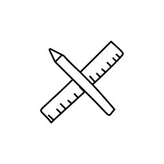 pencil and ruler sketch icon. Element of education icon for mobile concept and web apps. Outline pencil and ruler sketch icon can be used for web and mobile