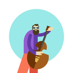 Vector illustration of cartoon hippie man playing guitar and singing