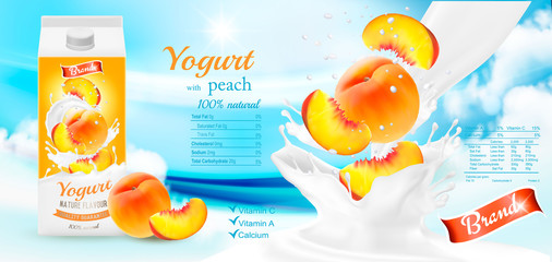 Fruit yogurt with berries advert concept. Yogurt flowing into a cup with peach. Design template. Vector.