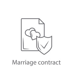 Marriage contract icon. Simple element illustration. Marriage contract symbol design from Insurance collection set. Can be used for web and mobile