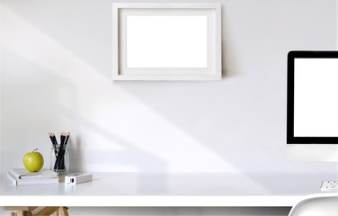 Mockup poster with computer on white desk, workspace and copy space