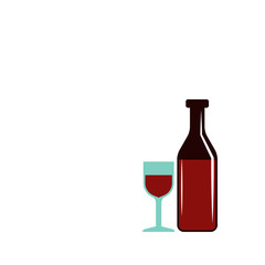 bottle of wine and glass colored illustration. Element of colored food icon for mobile concept and web apps. Detailed bottle of wine and glass icon can be used for web and mobile
