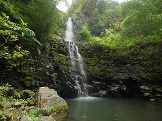 Tropical Hawaiian waterfall Koloa gulch falls panoramic view east Windward side of Oahu