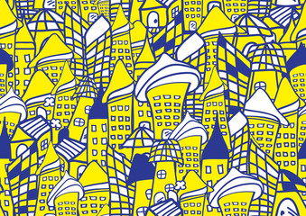 Houses and buildings cartoon icon vector illustration, Home hand drawn in Blue and yellow, Sketch Portrait outline
