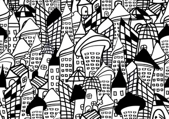 houses and buildings seamless pattern vector black and white background