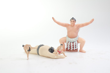 the figure of Sumo wrestler in traditional rack
