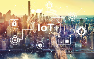 IoT security theme with aerial view of Manhattan, NY skyline Wall mural