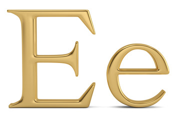 Gold metal e alphabet isolated on white background 3D illustration.