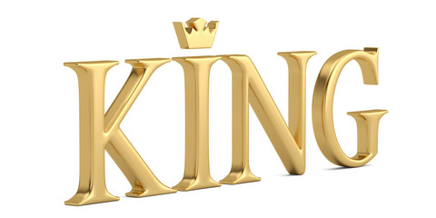 The gold word king isolated on white background 3D illustration.