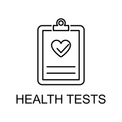 health tests line icon. Element of medicine icon with name for mobile concept and web apps. Thin line health tests icon can be used for web and mobile