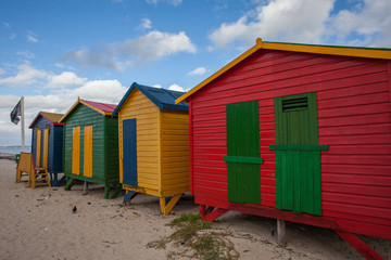 Colorful Wooden Beach Huts