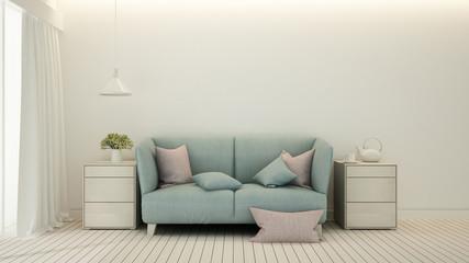 Living room or relax area minimal design in condominium or hotel - Living room bright tone in house or apartment - Interior simple design - 3D Rendering